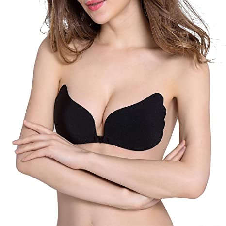 de3f5f6c354bb FanMop Invisible Adhesive Bras Silicone Push Up Bra Backless Strapless  Sticky Reusable Wing Shaped Women (Black