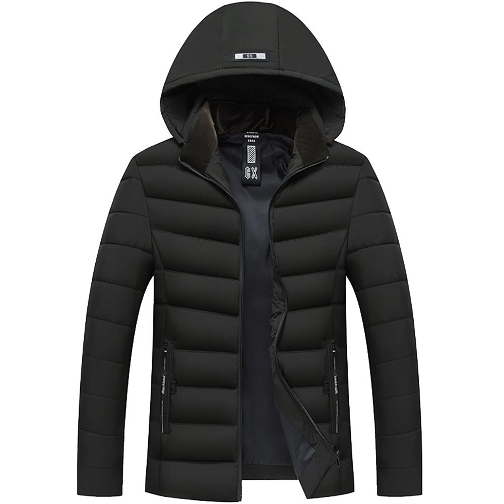 LINGMIN Mens Casual Hooded Puffer Quilted Jacket Stand Collar Thicken Padded Coat