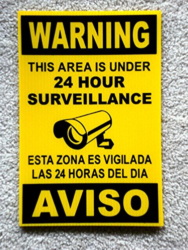 1 Pc Enormous Unique Security Signs Anti-Robber CCTV Protection 24Hr Yard Sign Video Surveillance Decals Neighbor Warning Home Premises Hour Under Cameras Cars Protected Size 8