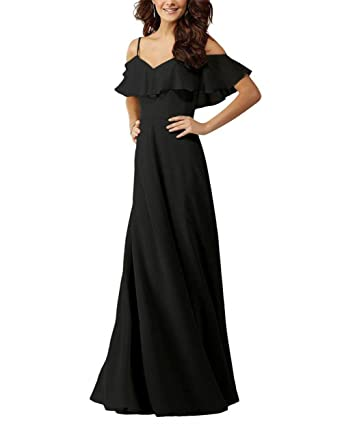 Onlylover Womens Off Shoulder Chiffon Bridesmaid Dresses Black Long Ruffles Evening Prom Gown Size 2