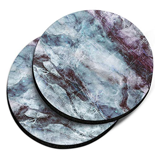 (CARIBOU Coasters, Nebula Blue Black Marble Design Absorbent ROUND Fabric Felt Neoprene Car Coasters for Drinks, 2pcs Set)