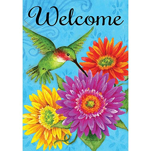 Welcome Decorative Flag - Hummingbird Gerberas - Welcome - Standard Size 28 x 40inch Decorative Flag - Copyright, Trademark, and Licensed by Custom Decor Inc. - Printed in the USA