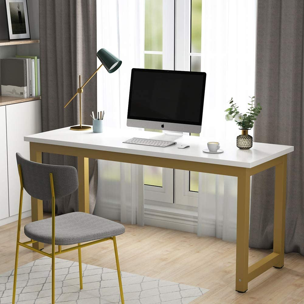 Tribesigns Computer Desk, 63 inch Large Office Desk, Study Writing Table for Home Office, Easy Assemble, White Gold