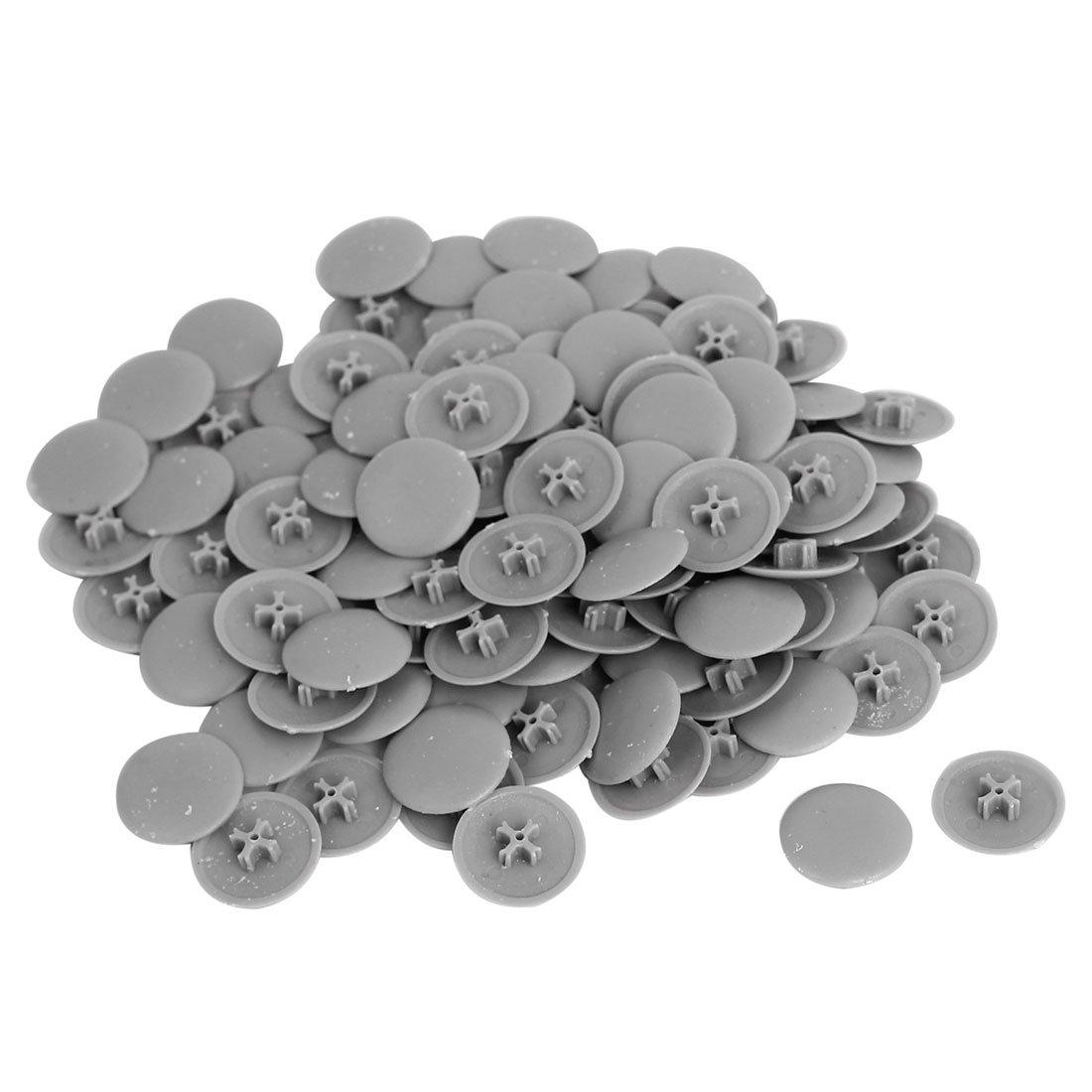 Phillips Screws Plastic Decoration Cap Cover 17mm x 6.5mm 100pcs Gray uxcell a15072800ux0723