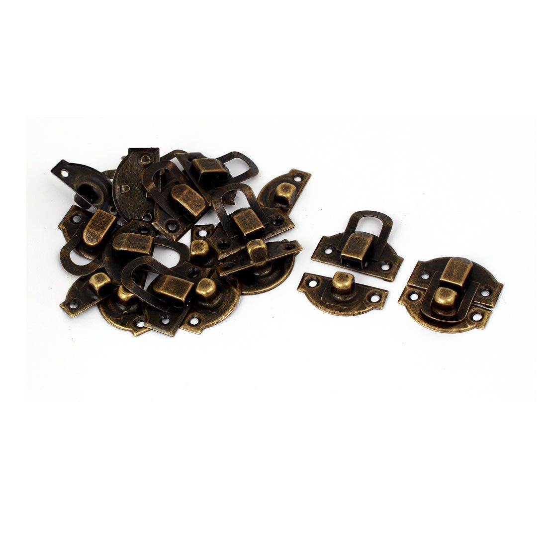 sourcing map Scatola di legno Cassetta Fermaglio di blocco gancio di blocco cerniera tono bronzo 29x27x6mm 10pz SYNCTEA015949