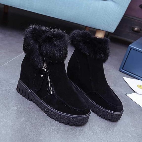 Damen Stiefel Winter Warm, Mumuj Modischen Seitlicher Reißverschluss  Schneestiefel Velvet Erhöhung Reissverschluss Stiefel Flach Soft Passform  Schuhe  ... d6eda04f9c