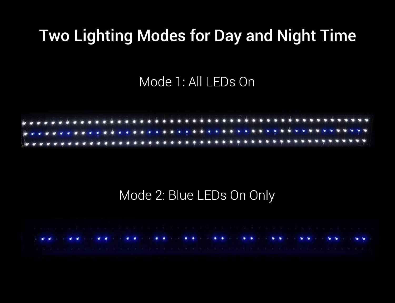 9-45 W Full Spectrum Platnted Acuario Lighting con soportes extensibles blanco 135 cm VARMHUS Acuario Light azul verde y rojo LED para acuarios con una longitud de 30