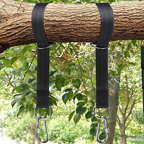 OUTOWIN 1 Paar 10ft Aufhängeset Befestigungsset für Hängematten aus Polyester mit 2 verriegelnde Karabinerhaken, max.Belastbarkeit 2000 lbs , verstellbar