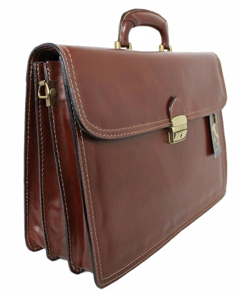 Leatherworld Herren Echt-Leder Tasche Aktentasche Arbeitstasche Notebooktasche Laptoptasche 15 16 Zoll DIN A4 Umhängetasche Dokumenten-tasche Büro aus hochwertigem Leder braun 01301
