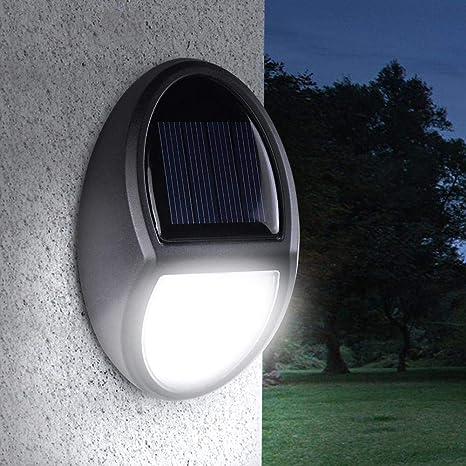 KOBWA - Lámpara Solar de Pared con Sensor de luz LED para jardín, Impermeable, iluminación Exterior para escaleras, Piscinas de Patio o Estanque: Amazon.es: Hogar