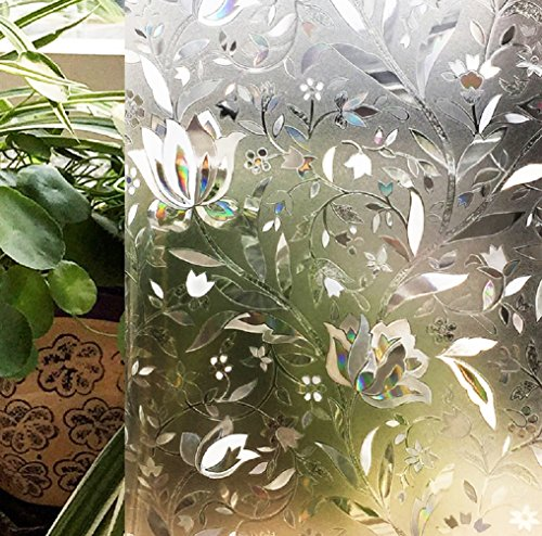 Window Film Static Cling Privacy Colorful Flower Pattern No-Glue Glass Film Anti-UV Decorative Door Home Bedroom Bathroom 17.7 by 78.7 (Art Deco Window)