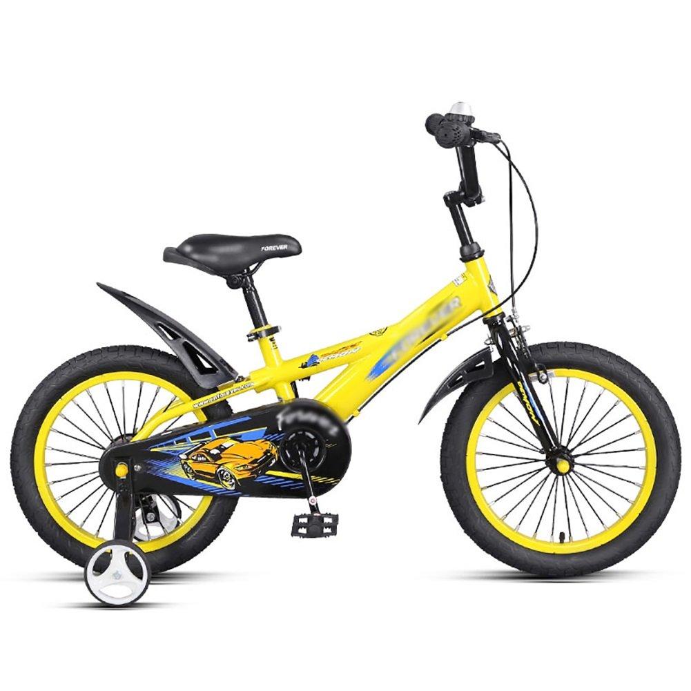男の子、女の子、子供ペダル自転車、子供用自転車14 16インチ3-5-6歳の赤ちゃんキャリッジ、青黄色 B07DWR3B6Fイエロー いえろ゜ 16 inch