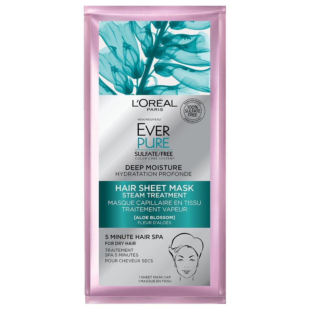 L'Oreal Paris Hair Care Ever-Pure Deep Moisture Hair Sheet Mask, 1 Count