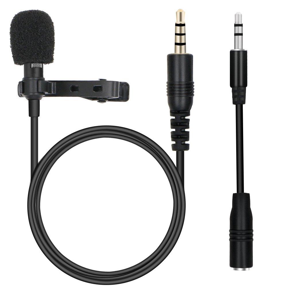 Rusee Lavalier Microfono, Mini Microfono Clip a Condensatore Omnidirezionale con 3.5mm Adattatore per Registrazione di Interviste, Line-in Registratore, Conferenza Video, Voice Dictation, Smartphone
