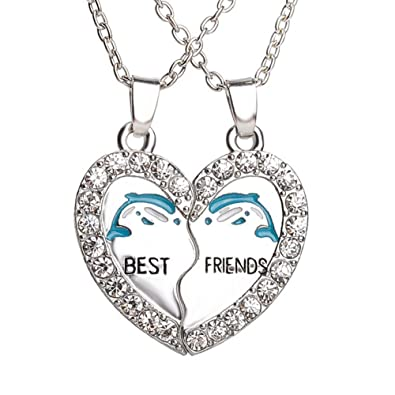 Amazon best friend dolphin heart silver tone 2 pendants 2 best friend dolphin heart silver tone 2 pendants 2 necklaces bff friendship funtime accessories aloadofball Choice Image