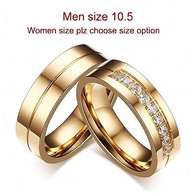 Amazon.com: Anillo de boda para hombre y mujer, 1 par de ...