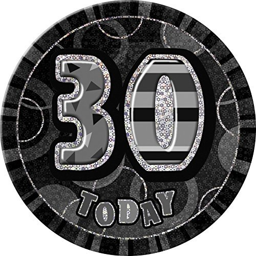 6 Glitz Black Giant 30th Birthday Badge by Unique Party by Unique Party