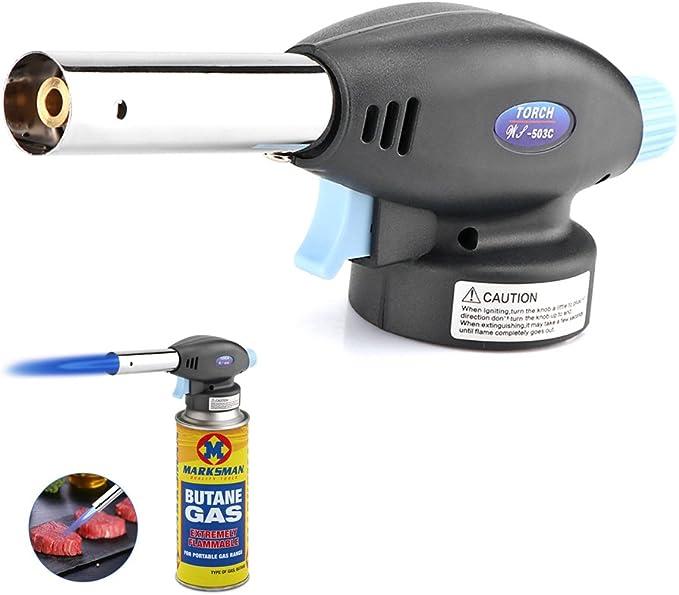 Soplete de cocina, Gas Butano Soplete Encendido Auto Camping Soldadura lanzallamas pistola para creme brulee barbacoa al aire libre, cocina cocinar ...