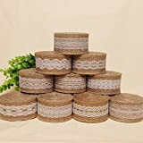 5CM Width White Lace with Natural Burlap Ribbon Jute Roll (10 Rolls/Lot) and Jute Rope 300 Feet for Rustic Vintage Wedding Decoration Craft Gift Wrapping