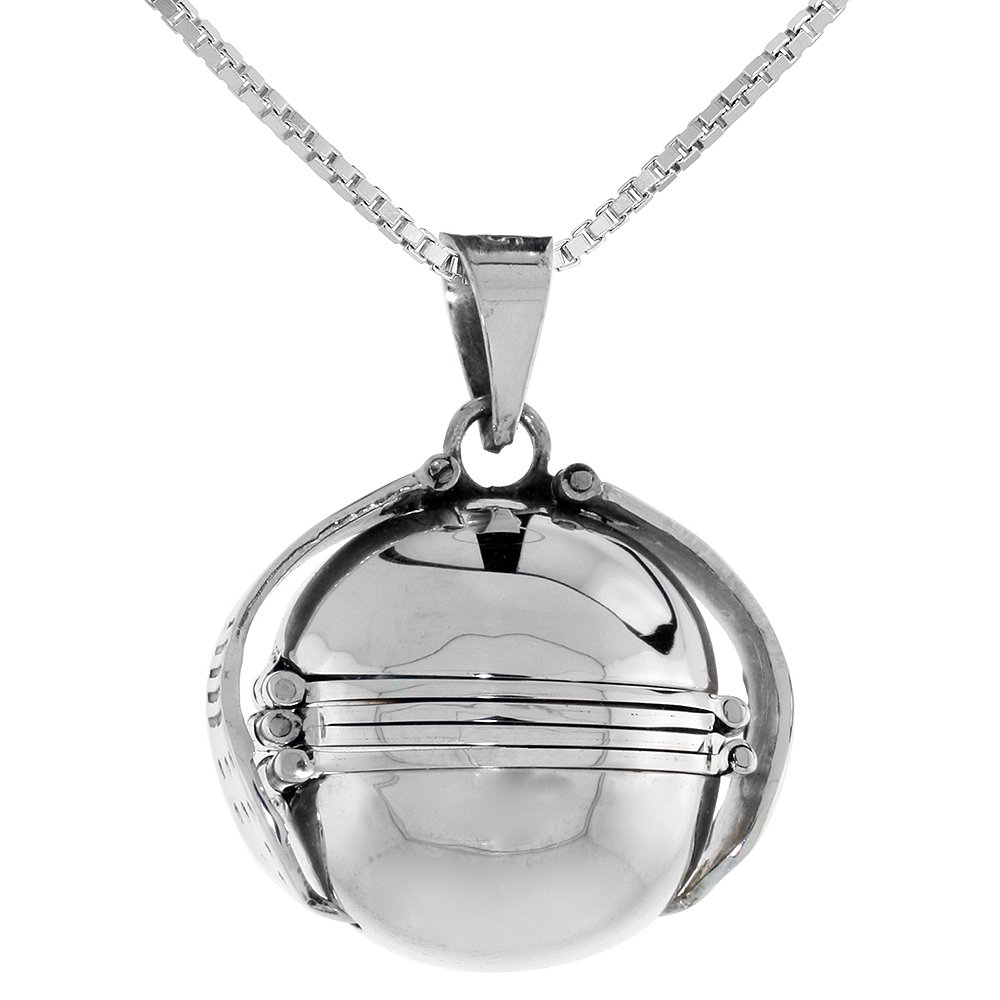 Sterling Silver Photo Ball Locket Necklace For Six Pictures 3/4 inch, 24 inch BX_24