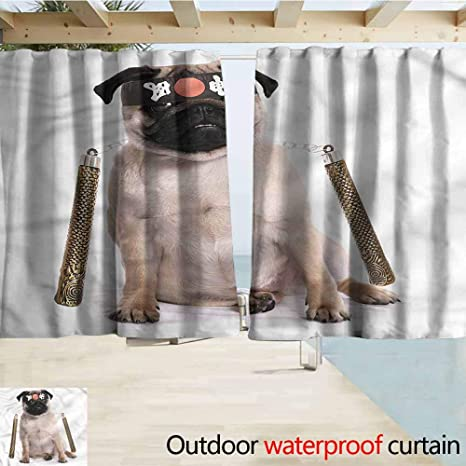 Amazon.com : Exterior/Outside Curtains Pug Martial Art Ninja ...