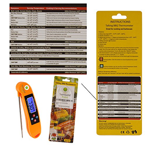 Digital Thermometer Talking Instant Read- Electronic BBQ- Great for Barbecue, Baking, Grilling, Cooking, All Food & Meat, Liquids- Collapsible Internal long Probe (Orange) By Surround Point by Surround Point (Image #8)