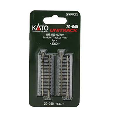 Kato 20-040 N Unitrack 62mm 2 7/16 Straight Track 4pcs: Toys & Games