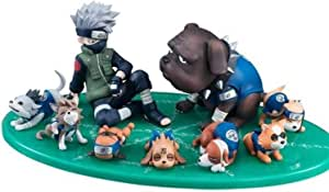 YLSP Exquisite Hand Model Kakashi and Puppies, PVC Toy Collection Statue of Cartoon Characters, Animation Naruto Model, Cartoon Decorative Sculpture (9 cm) (Color : -, Size : -)