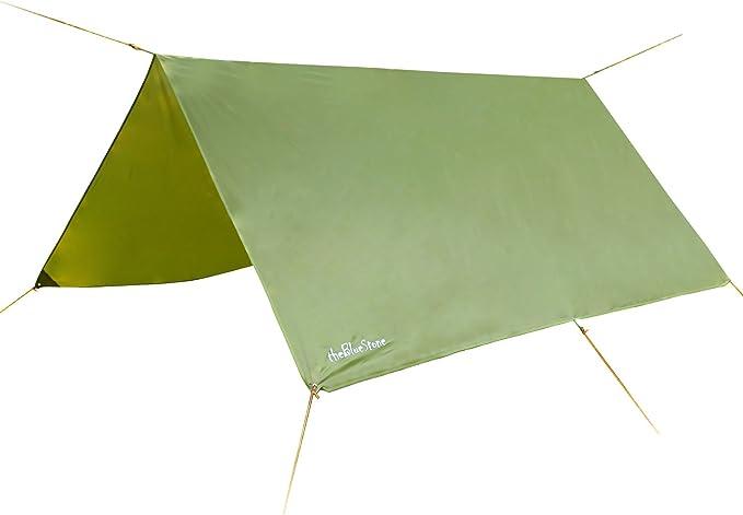 Lona de 3 x 3 m para camping, cortavientos, impermeable, ligera, compacta y fuerte, color verde