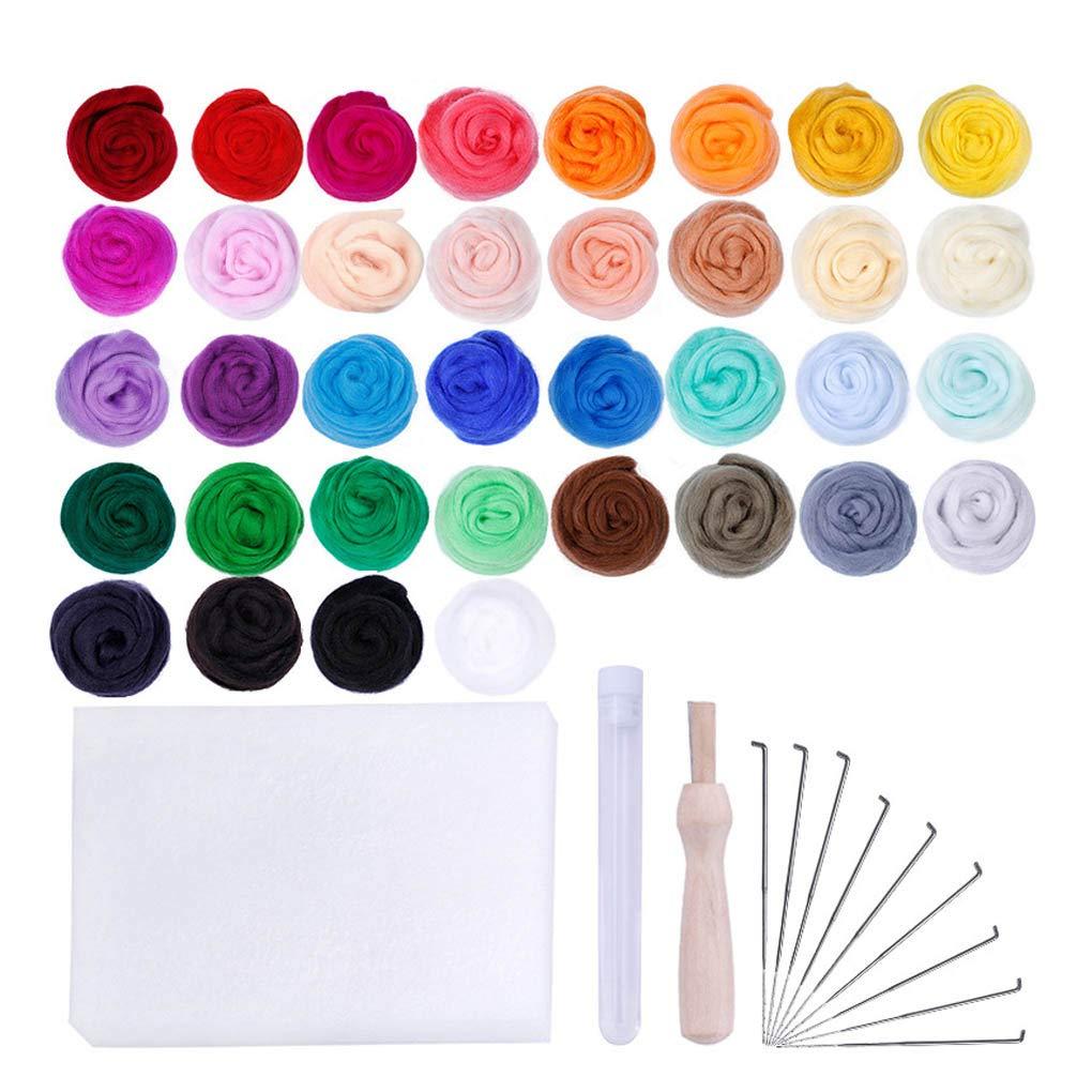 und Trockenfilzen DIY Fertigkeit-Set Anf/änger Nadelfilz Werkzeuge Censhaorme Filzen Roving Kit 36 Farben Felt Ball Nass