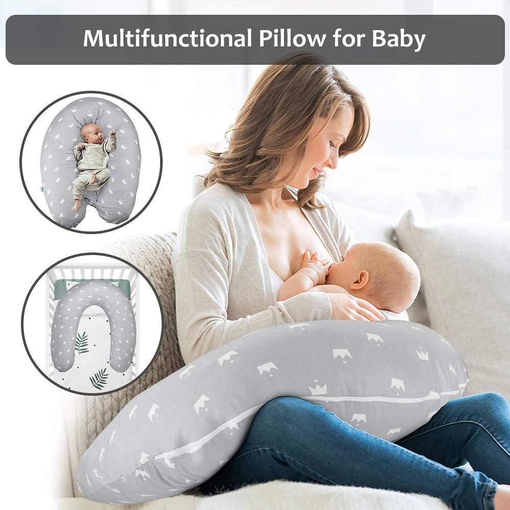 Crown Luchild Nursing Pillow Pregnancy Pillow Maternity Pillow Large,102/% Cotton Pillow Case,Inner Filling Polyester Fiber for Breastfeeding Baby e Full Body for Sleeping