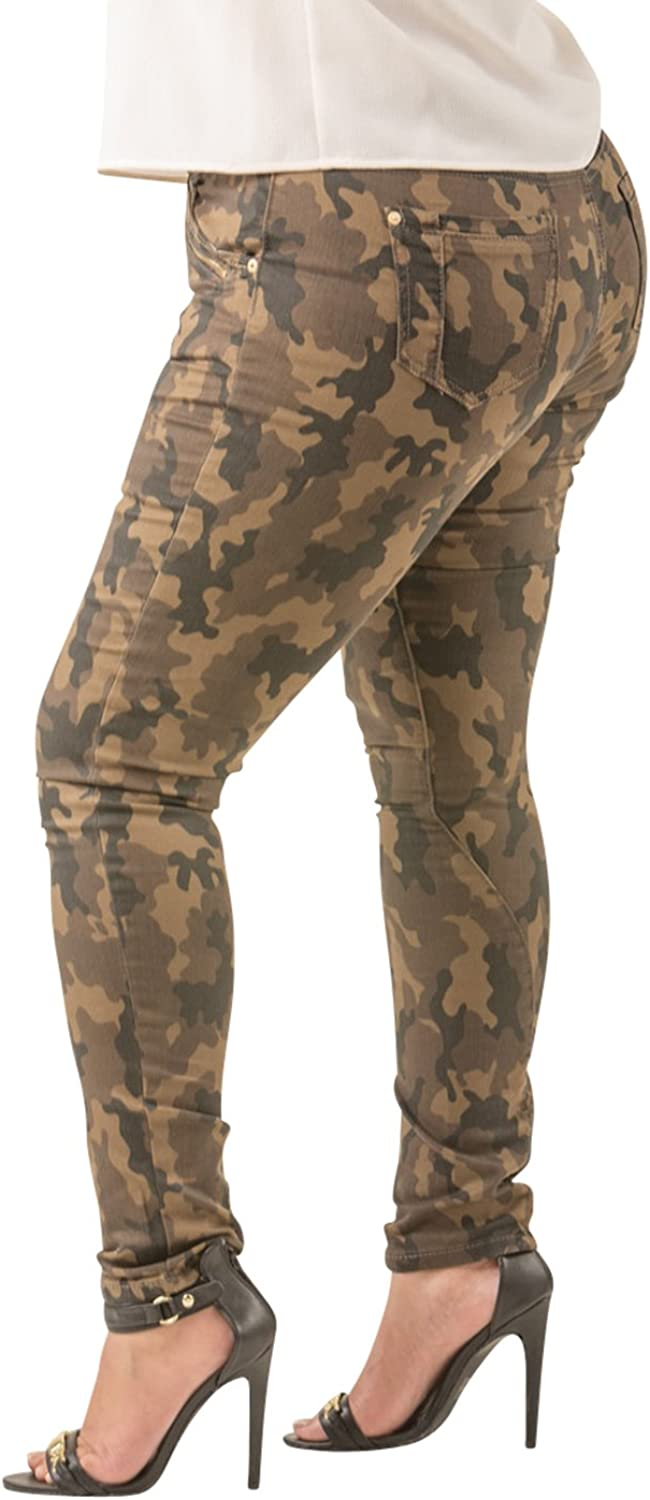 Poetic Justice Women/'s Curvy Fit Camo Coated Stretch Twill Gold Zipper Jeans