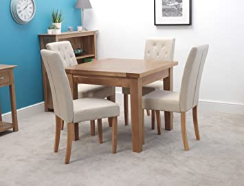 finest selection 44beb 437a4 Harts Solid Oak Square Dining Table Set With 4 Chair (Cream ...