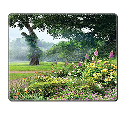 Country Morning Collection (Mouse Pad Unique Custom Printed Mousepad Country Collection Vibrant Colored Flowers Trees In An English Park Morning Haze Foggy Sunrise Image Green Yellow Lilac Stitched Edge Non Slip Rubber)