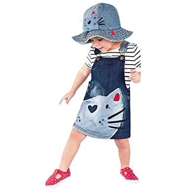 c64ece96737 Amazon.com  Clearance Sale Little Girls Toddler Baby Kids Cute Cat Print One -Piece Denim Dress Jumper Dress Overall Suspender Skirts  Clothing