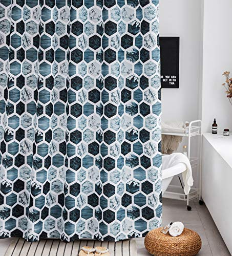 Shower Curtain Set Gray Marble Fabric Shower Curtain Heavy Duty Bathroom Curtains for Bathtubs Geometric, 72 by72 Inch(Grey/Navy/Aqua) - 【100% POLYESTER】:72 by72 inches 100% Polyester FABRIC shower curtain,it's safe for you and your family.(ATTENTION : the material is polyester fabric, not cotton fabric). 【HEAVY WEIGHT / PREMIUM QUALITY】: Heavy-weight woven fabric construction prevents the curtain from billowing;Weighted hem;12 flexible plastic hooks. 【NOVELTY & SIMPLE DESIGNED】:Simple pattern are printed on this fabric shower curtain, perfect to bright your bathroom, providing privacy and decorative appeal.They hang well and let light through,can be used as a stand-alone shower curtain and Machine washable to help you keep your bath curtain clean and looking fresh. - shower-curtains, bathroom-linens, bathroom - 613zs9IcgIL -