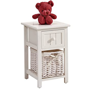 OSPI Drawer Shabby Chic White Color Wooden Bedside Cabinets Units Tables With Wicker