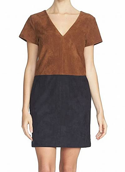 1.State Women s Small Faux-Suede V-Neck Shift Dress Brown S at ... 843abfa88
