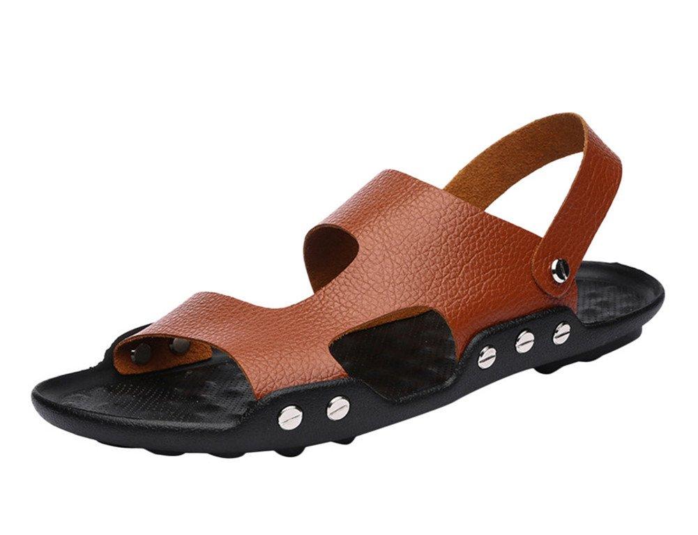 Insun hombre Fashion correa de piel sandalia 42.5 EU|marrón