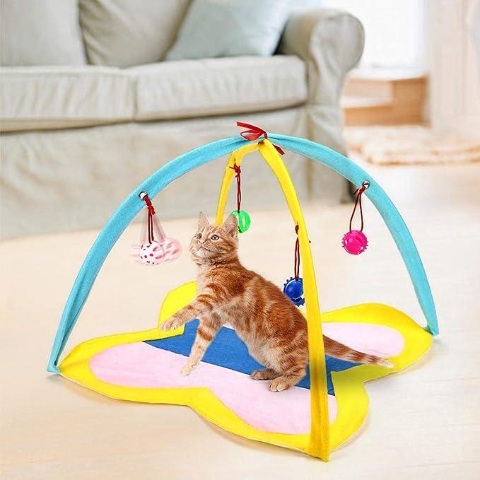 Womdee Tienda de campaña Plegable para Gatos con Campanas para Colgar Que ayudan a los Gatos a Hacer Ejercicio y Mantenerse Activos: Amazon.es: Productos ...