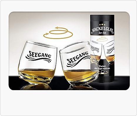 Gilde 2 Juegos Vasos de Whisky Vasos de Ron Vidrio oscilante Vidrio Giratorio en Caja de Regalo Altura 8.5 cm Diámetro 7.5 cm 200 ml hogar, ...