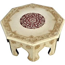 Lalhaveli Wooden Round Chowki Table Pooja Room Decor (13 X 13 X 6 Inches, White)