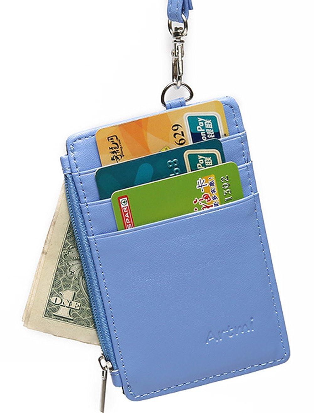 Women RFID Slim Credit Card Holder Id Card Case Holder Purse with Neck Strap C013