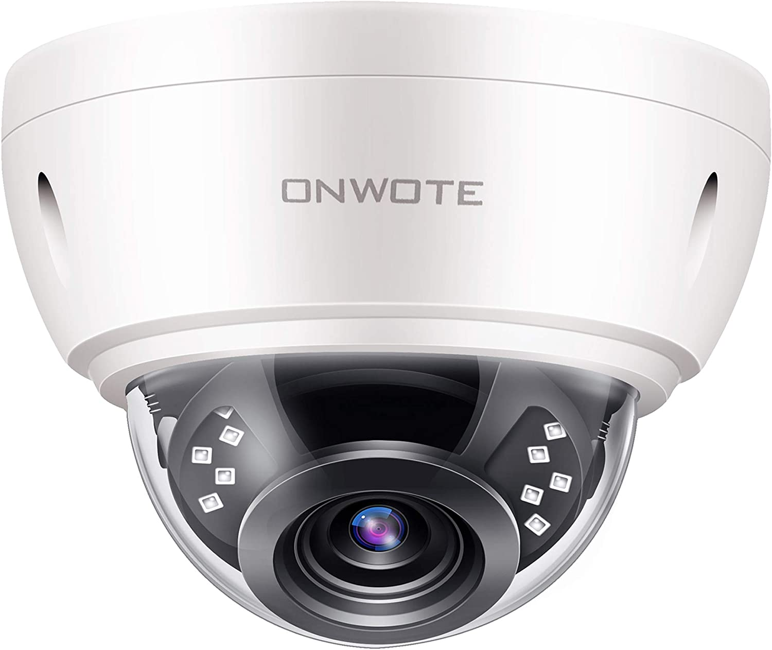 【Audio】 ONWOTE 5MP HD IP POE Security Camera Outdoor Dome Onvif, 5 Megapixels 2592x 1944P Super HD Vandalproof Camera, 100ft IR, 90° Viewing Angle, IP66 Weatherproof, Remote Access, Motion Alert