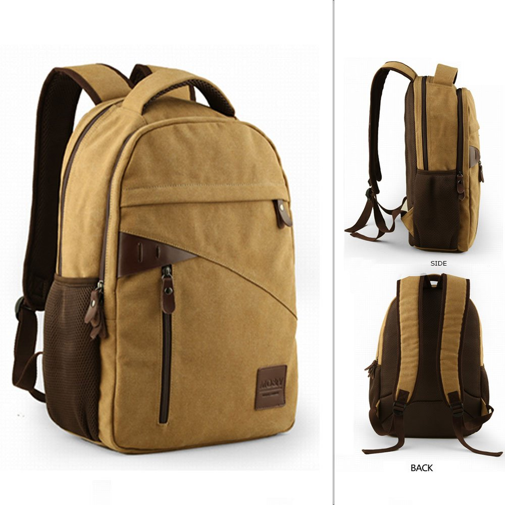 Amazon.com   Yoome Large Capacity Backpacks for Teen Boys Canvas Rucksack  14 Inch Laptop Dayback Travel College Hiking Camping Bag School Backpack  for Men ... 5df6ca889d740