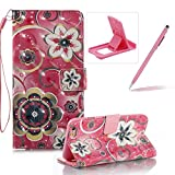Strap Leather Case for iPhone 6S,Wallet Stand Flip Case for iPhone 6,Herzzer Bookstyle Stylish Pretty 3D Crystal Flower Pattern Magnetic PU Leather with Soft Silicone Inner Back Case for iPhone 6/6S 4.7 inch