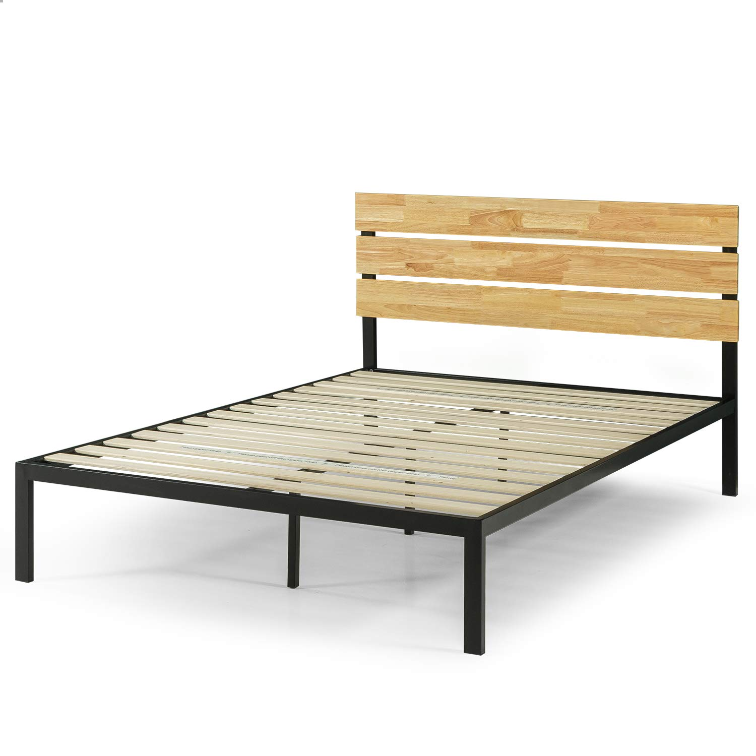 Zinus Paul Metal And Wood Platform Bed With Wood Slat