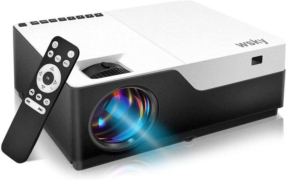Wsky Native 1080P Projector Home Theater, LED LCD 5000 Lux Video Projector with Dual Speakers, Compatible DVD, Phone, Laptop, HDMI, TV, PS4, PC