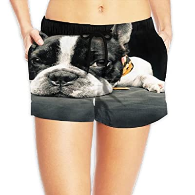 Tvsuh-u Boston Dog Women's Casual Beach Shorts Quick Dry Swim Trunk