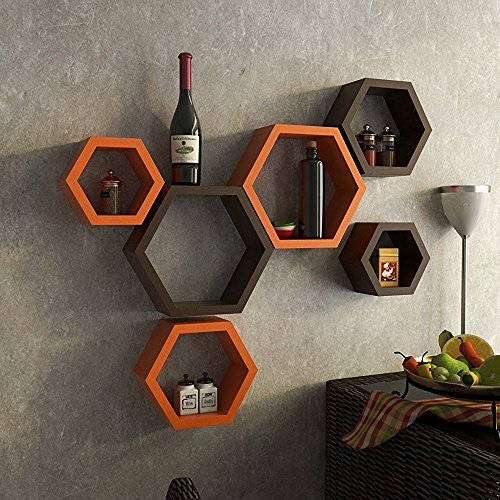 Decorasia Wooden Brown  amp; Orange Hexagon Shape Wall Shelf Set of 6